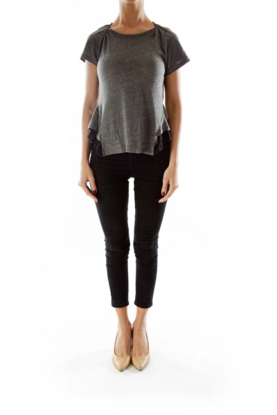 Gray Black T-Shirt with Lace Detail