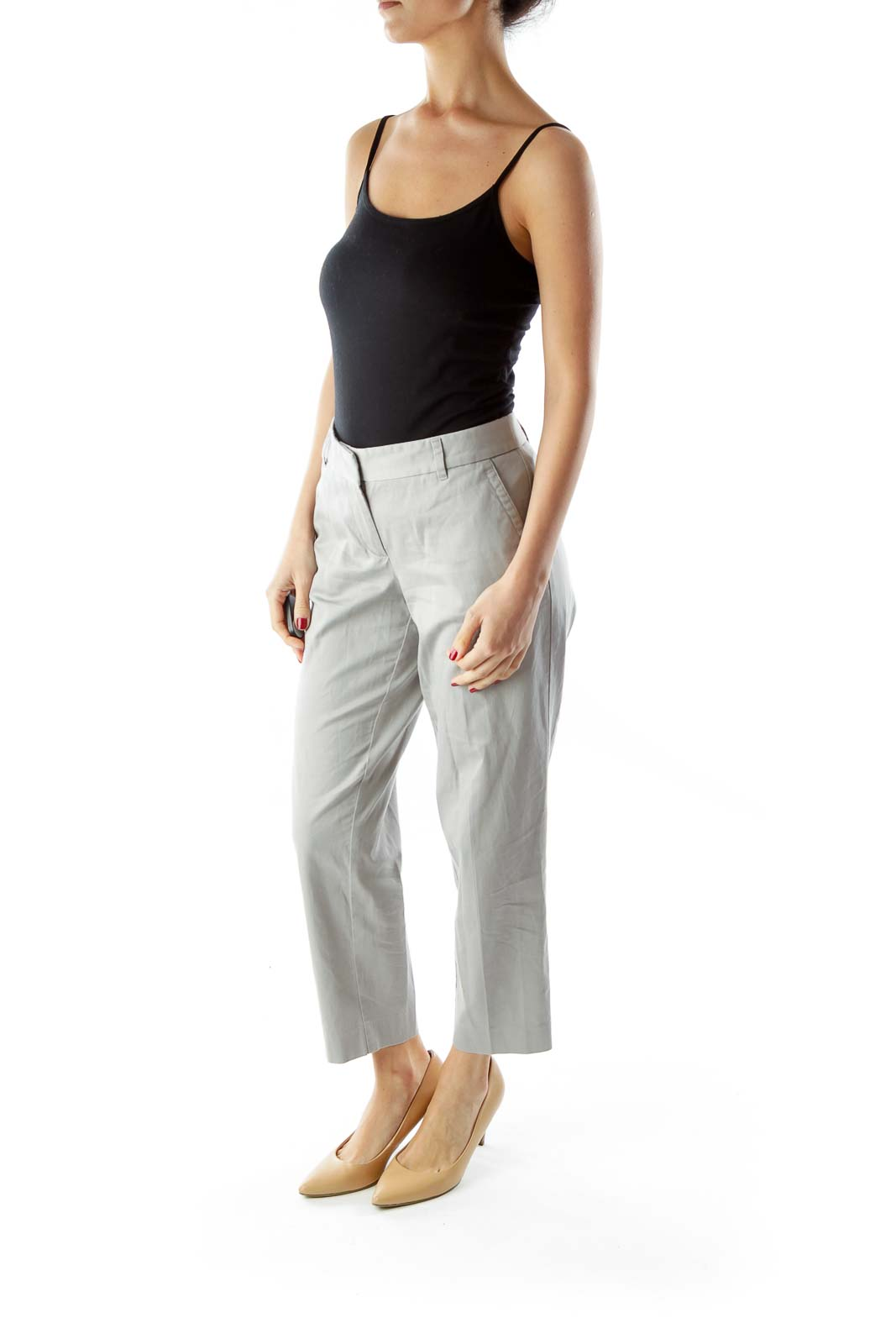 Gray Cropped Straight-Leg City Fit Pants