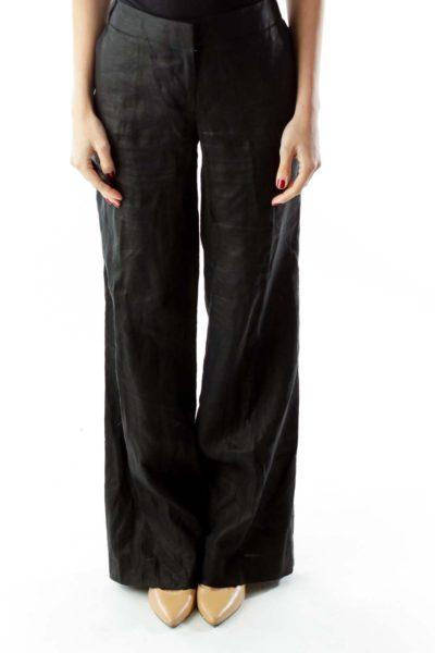 Black Linen Wide-Leg City Fit Pants