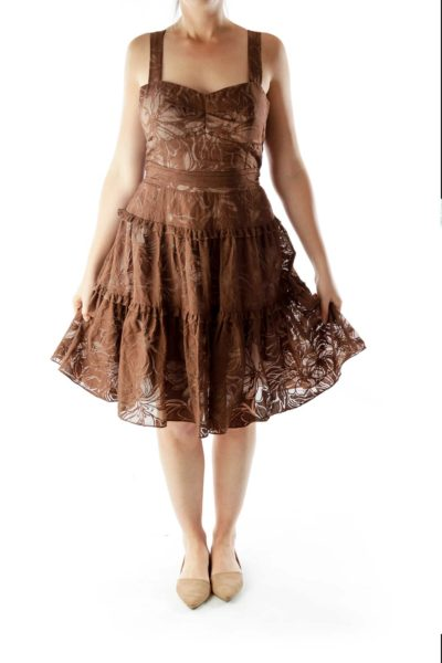 Brown Floral Pleated Layered Dress
