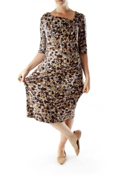Multicolor Scrunched Print Dress