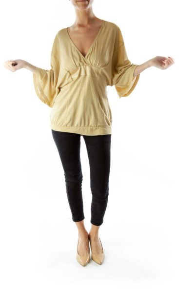 Gold Metallic Knit Top with Sash