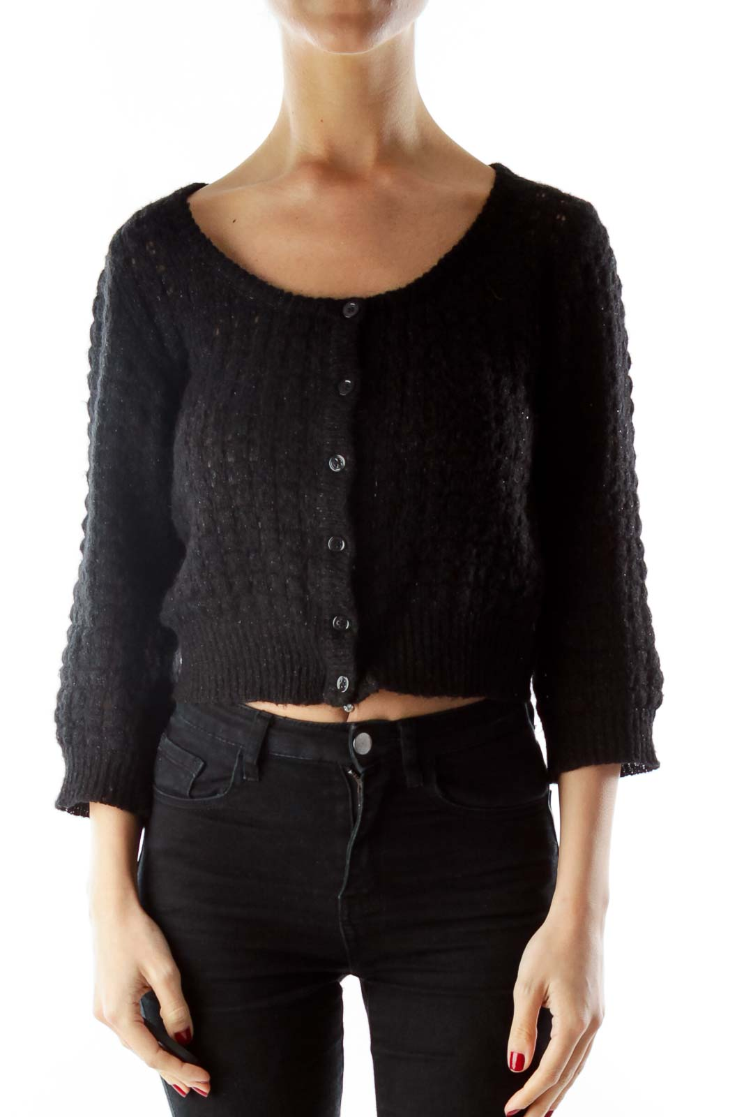 Black Sparkle Mid-Sleeve Cardigan
