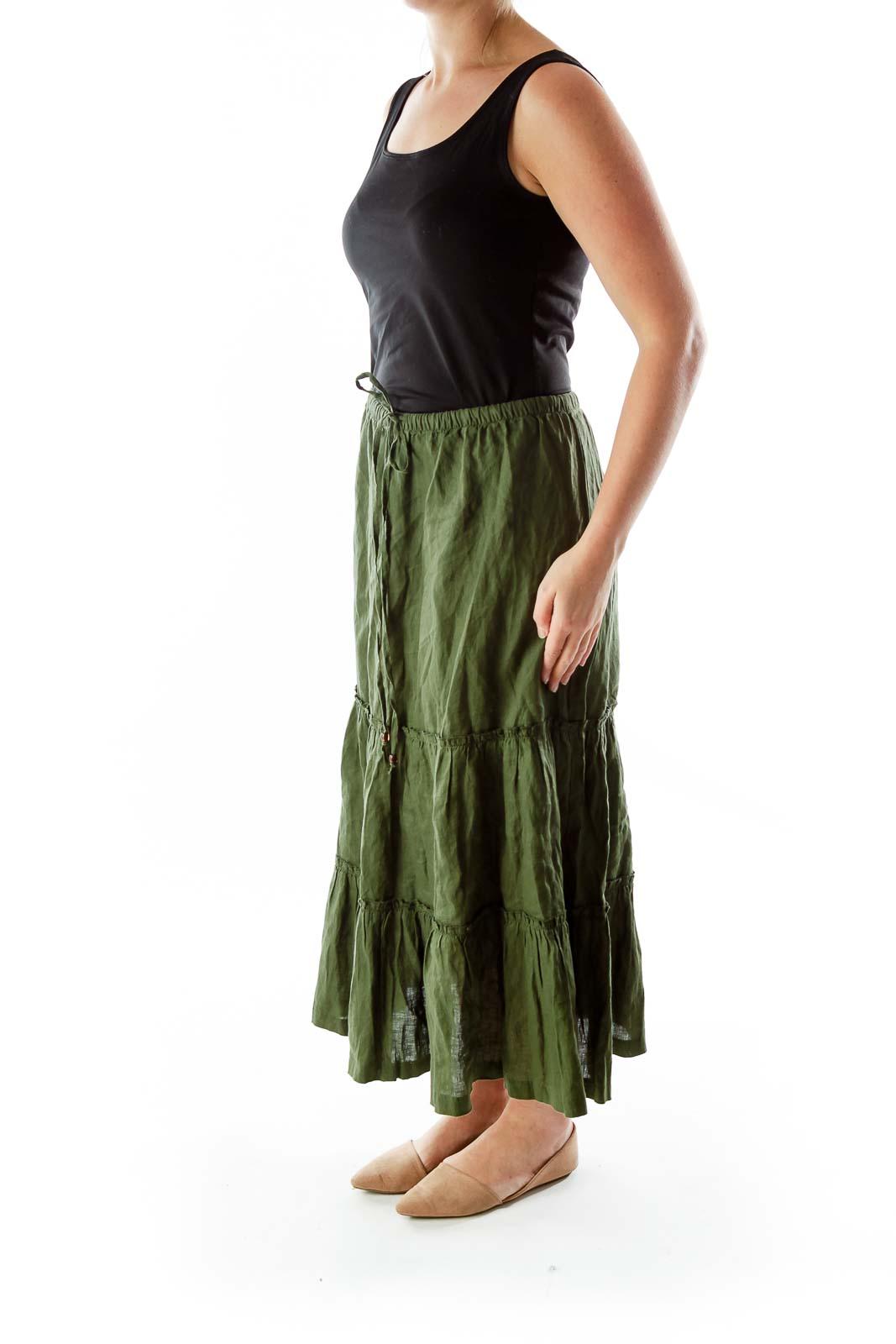 Green Linen Maxi Skirt