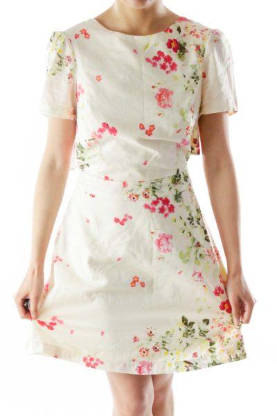 Cream Pink Green Flower Print Open-Back Dress