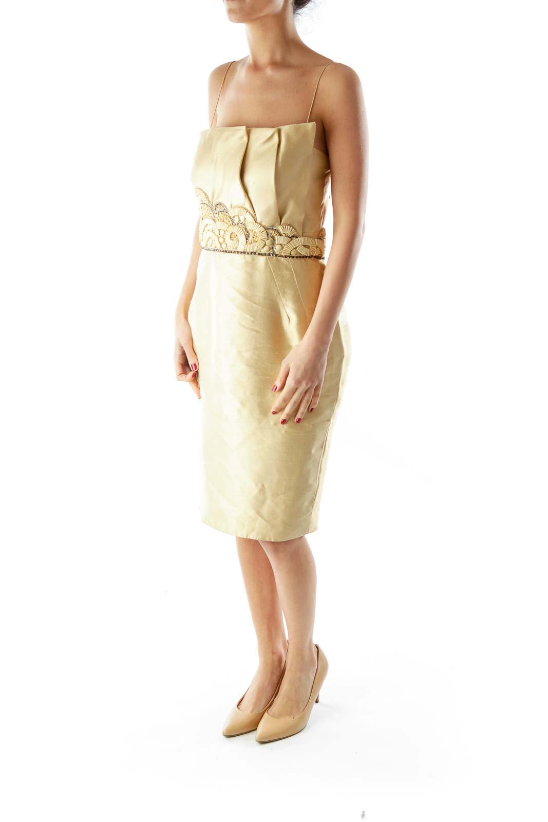 Gold Strapless Beaded Textured Dress