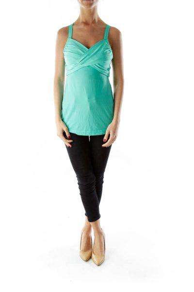 Mint Bandage Wrap Cut-Out Yoga Top