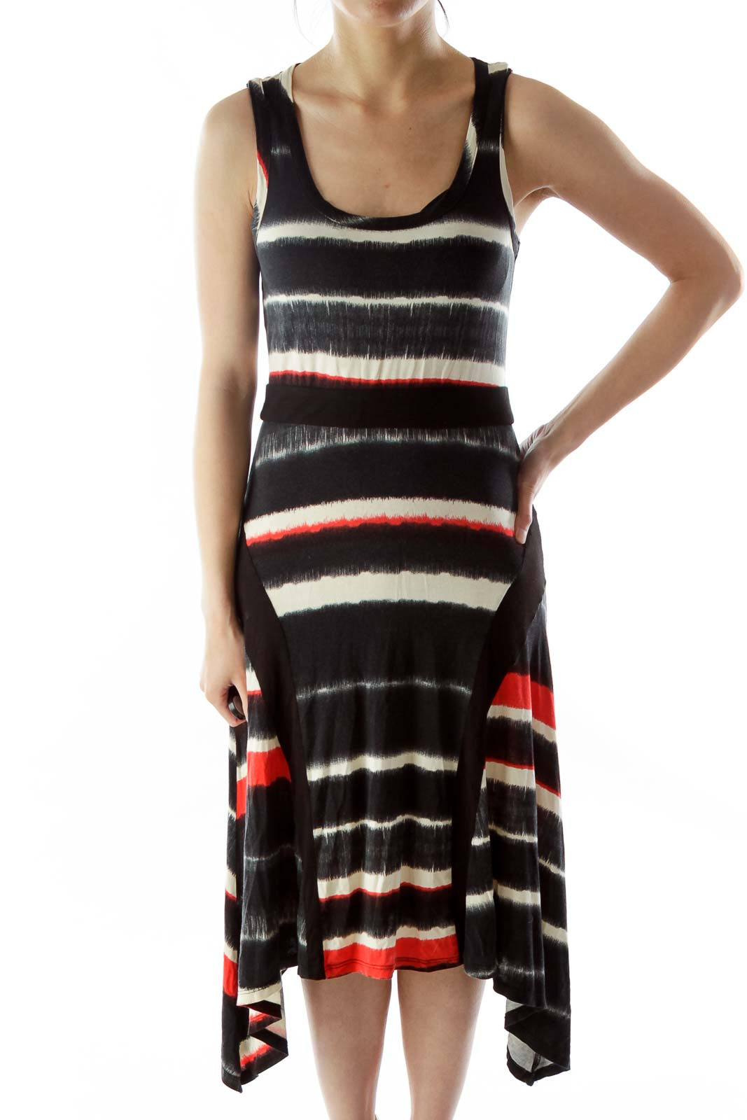 Black White Red Color Block Day Dress