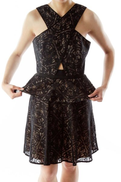 Black Nude Lace Cut-Out Cocktail Dress