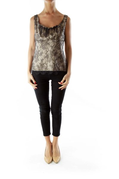 Black Nude Lace Sleeveless Blouse