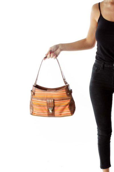 Brown Shoulder Bag with Color Stripes