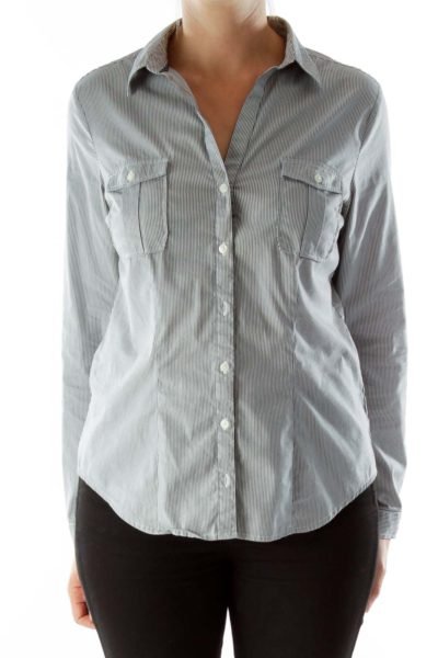 Blue White Pocketed Pinstripe Shirt