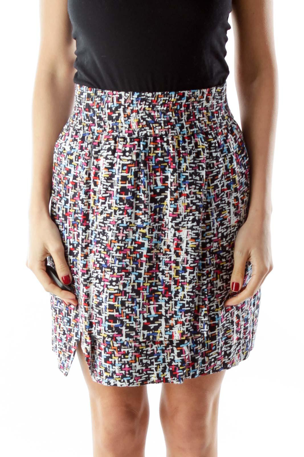Multicolor Geometric Print Reversible Skirt