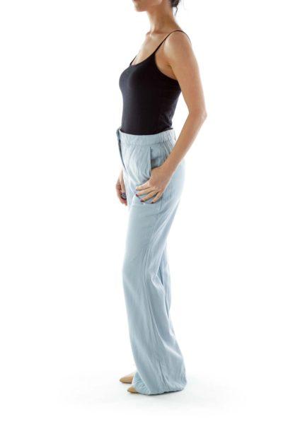 Blue Wide-Leg Loose Pants
