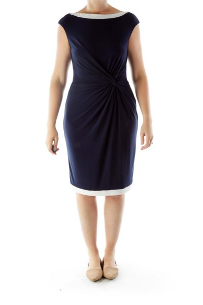 Navy Work Dress with Knot Detail and White Trim