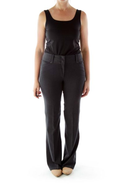 Dark Gray Wide-Leg Chino Pants