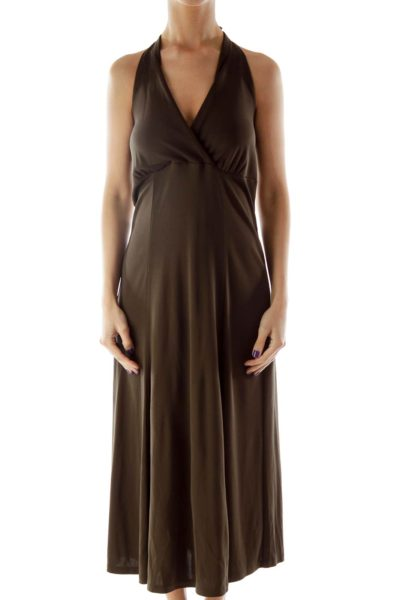 Brown Halter Evening Dress