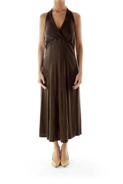 Brown Halter Evening Dress