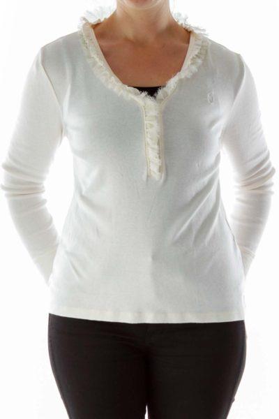 Cream Long-Sleeve Top with Ruffled Neckline