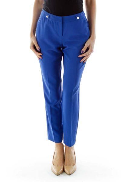 Cobalt Slim-Fit Pants with Button Details