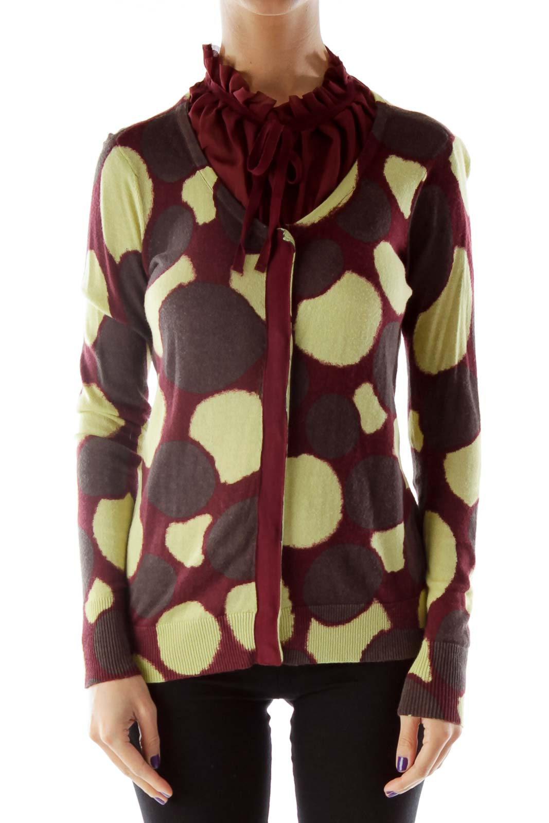 Brown Red Yellow Buttoned Ruffled Knit Top