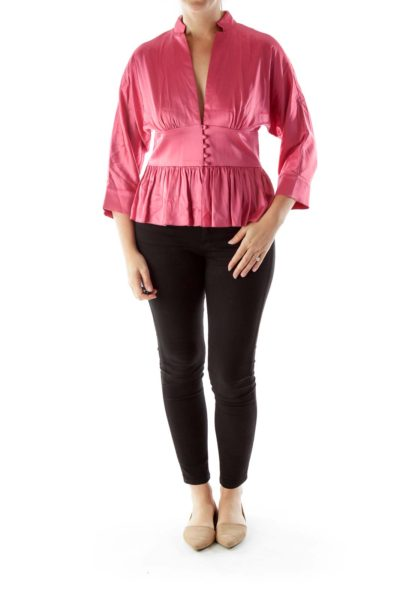 Pink Buttoned Ruffled Blouse with Plunging Neckline