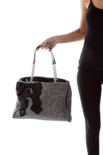 Black and White Tweed Bag