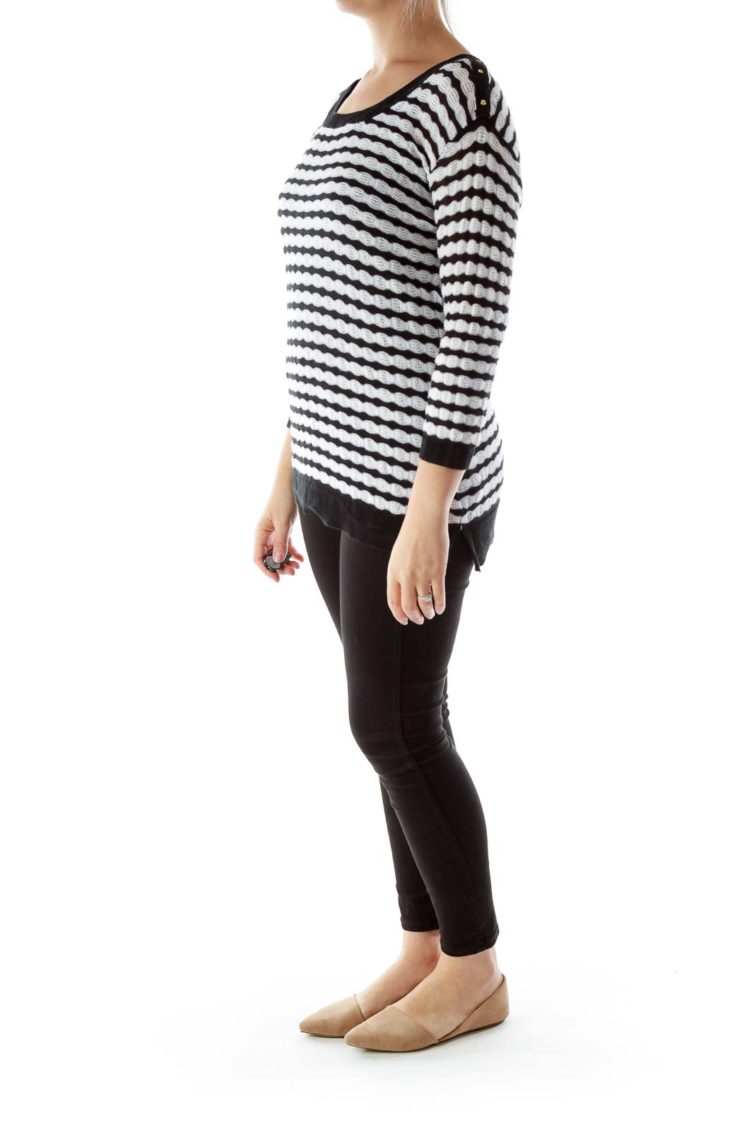 Black and White Knit Top