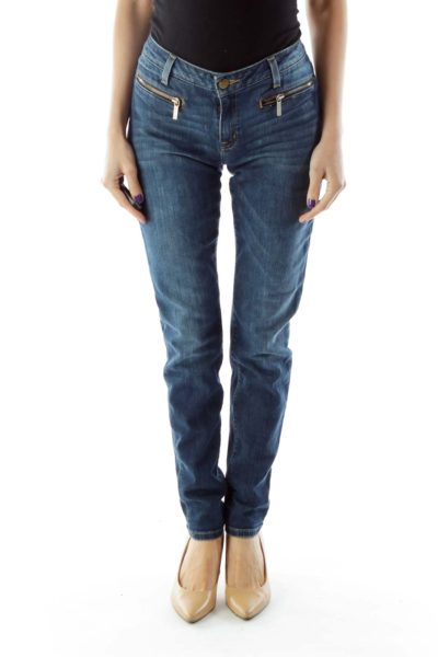 Zippered Pocket Skinny Jeans