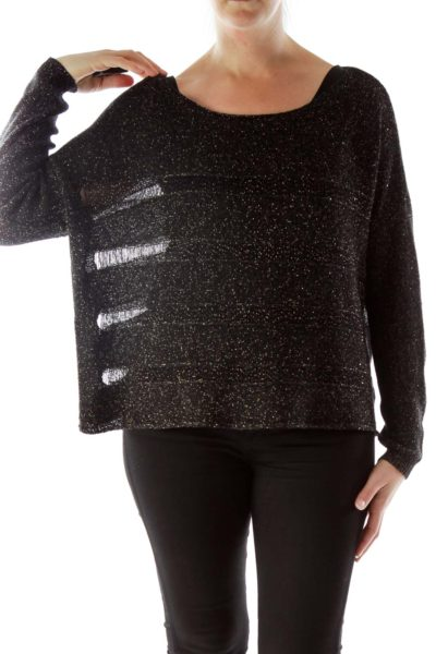 Black and Gold Metallic Knit Top