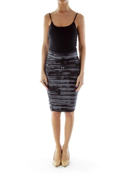 Black and Gray Stripped Athletic Skirt
