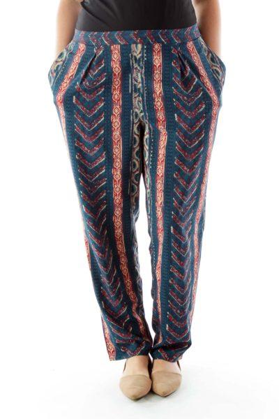 Print Blue White & Red Pants