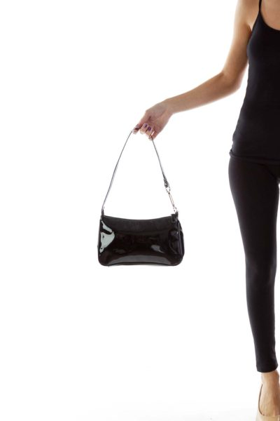 Black Shimmer Shoulder Bag