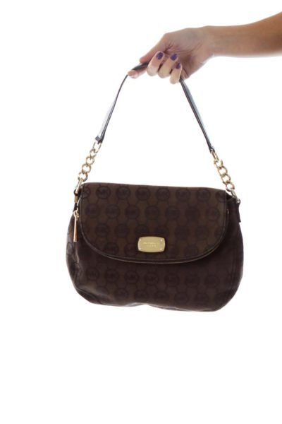Brown Black Monogrammed Shoulder Bag