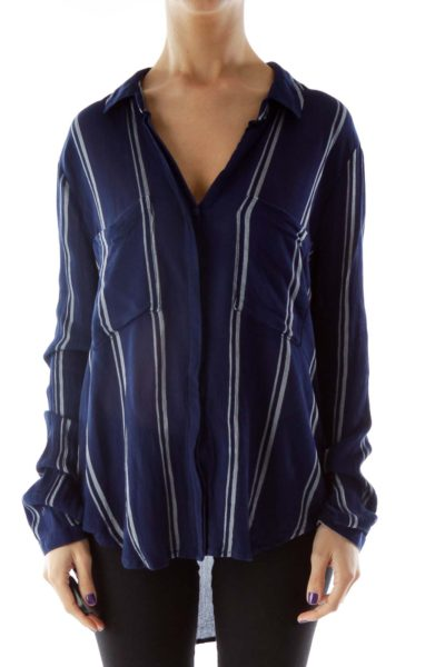 Navy Gray Striped Pocketed Blouse