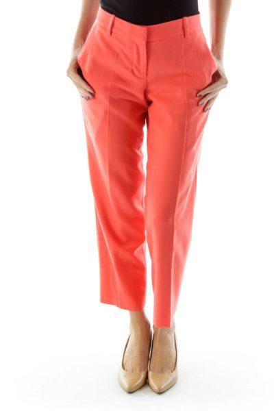 Orange Pocketed City Fit Skimmer Pants