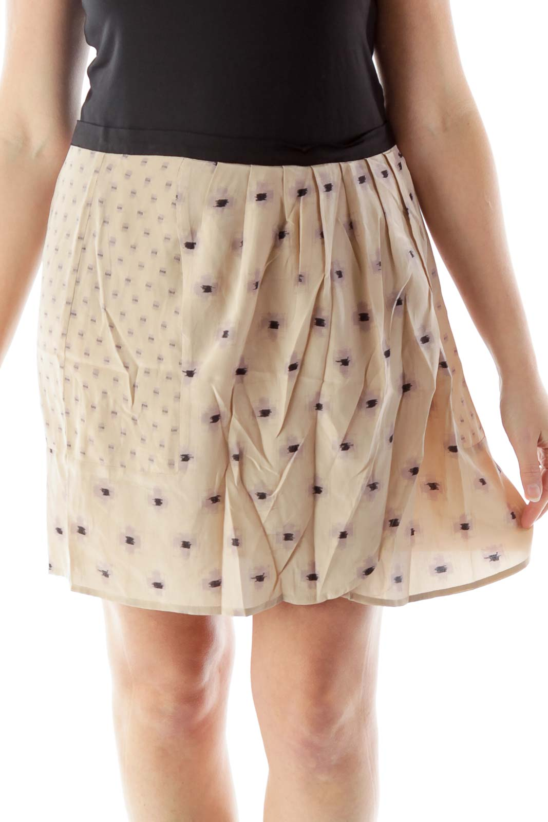 Beige Black Geometric Print Wrap Skirt