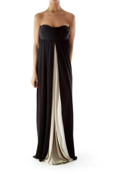 Black Strapless Color Block Evening Dress