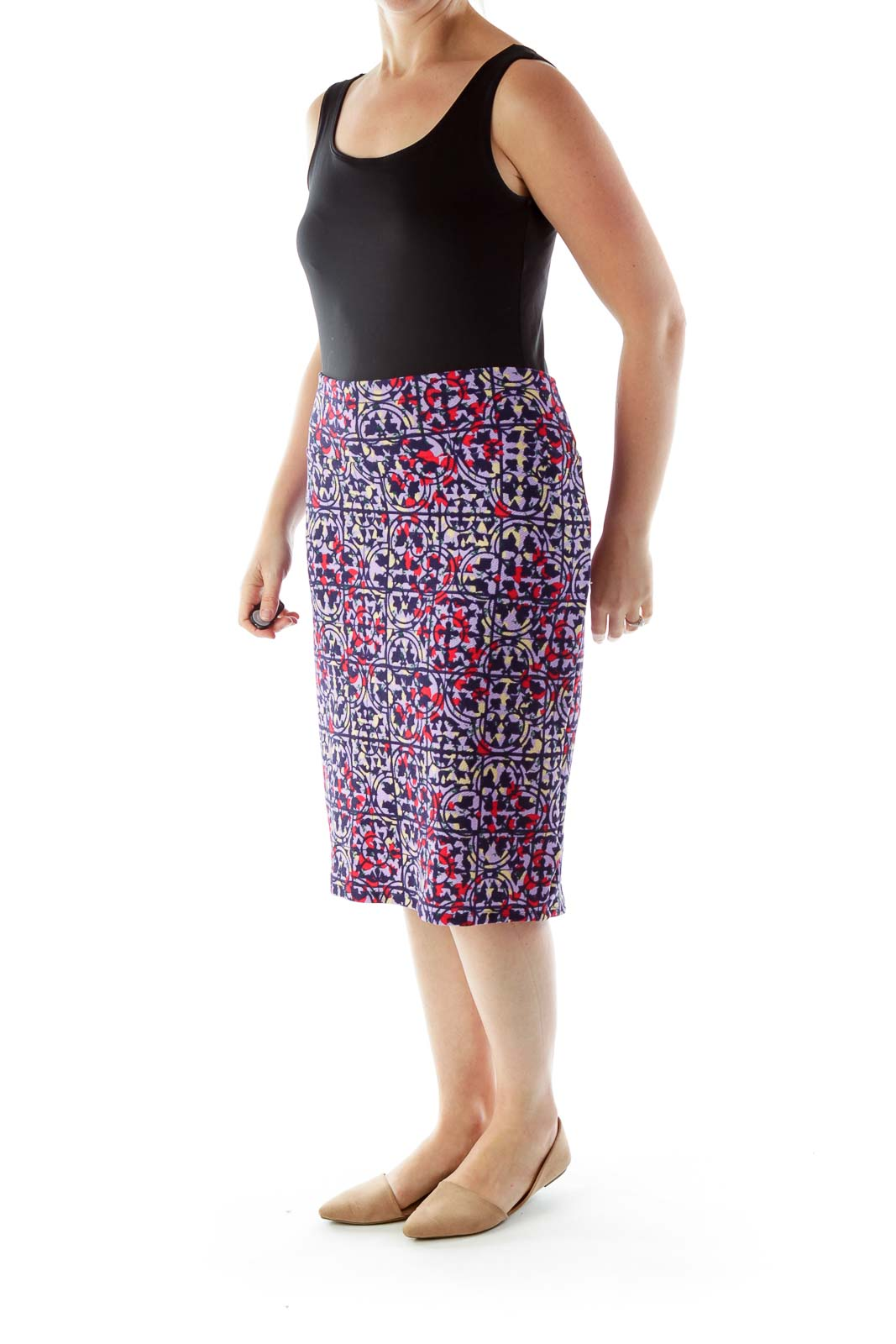 Multicolored Print Pencil Skirt
