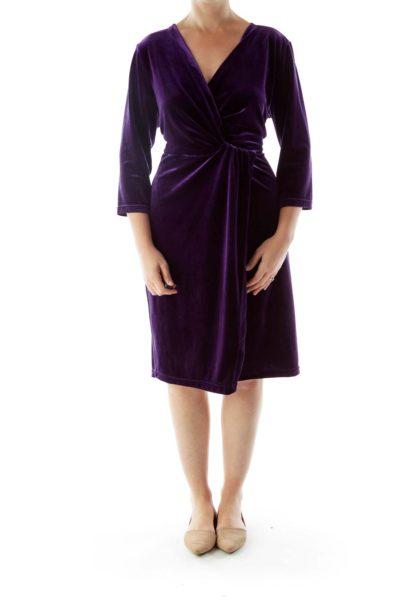 Purple Velvet Side Slit Dress