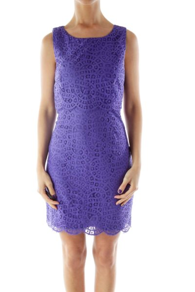 Lace Purple Key Hole Dress
