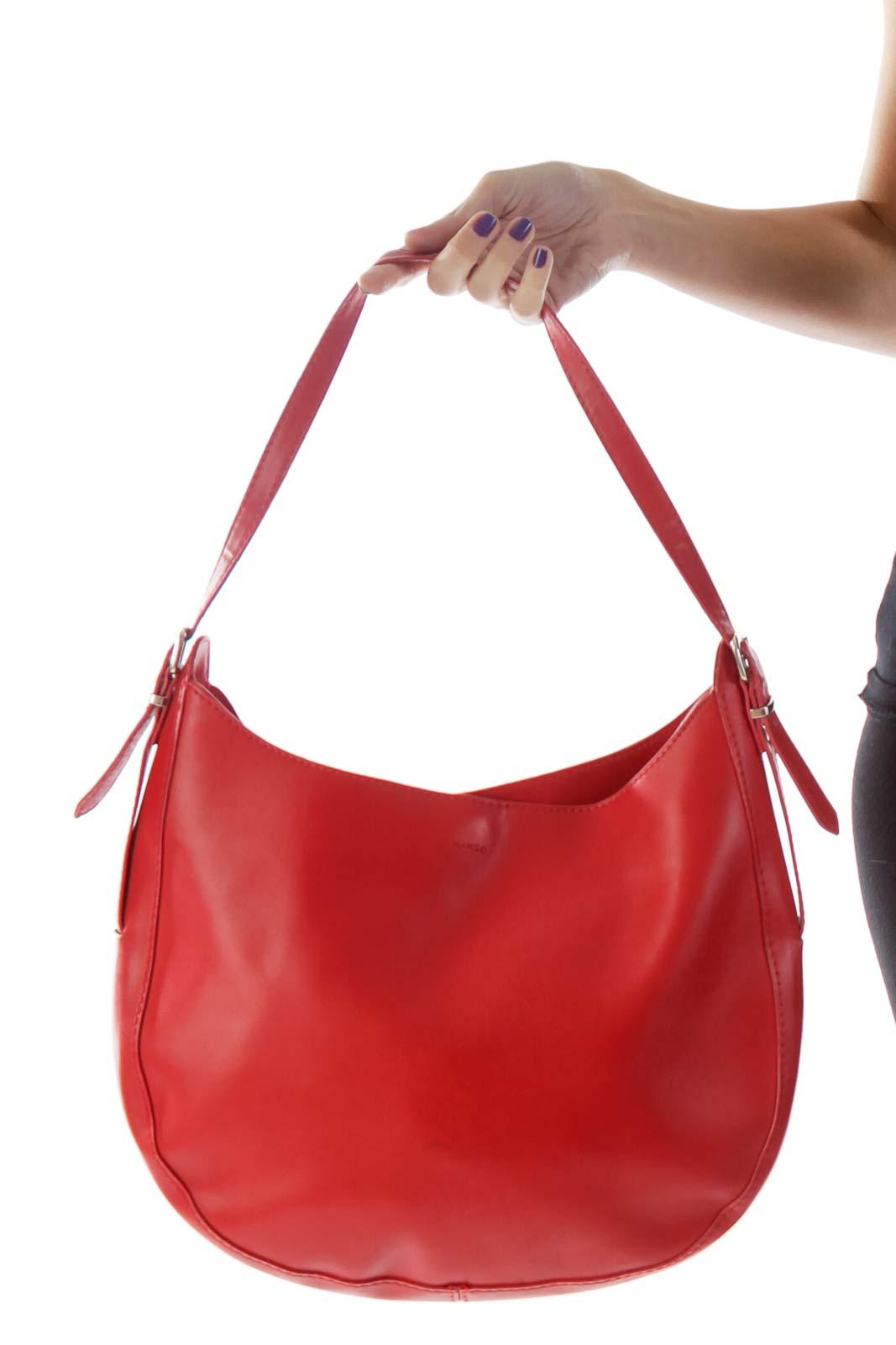 Red Faux-Leather Boho Shoulder Bag