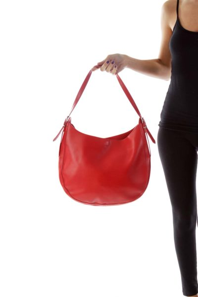 Red Faux-Leather Boho Shoulder Bag