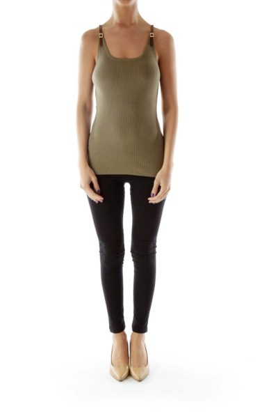 Green Ribbed Tank with Leather Straps