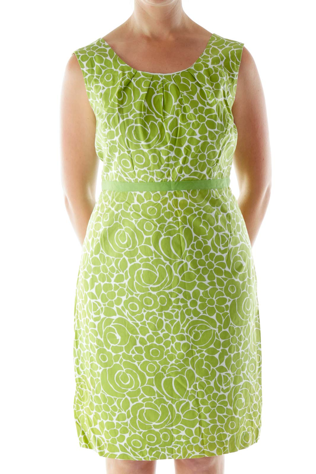 Green Printed Day Dress