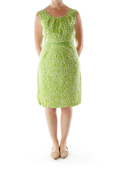 Green Printed Day Dress