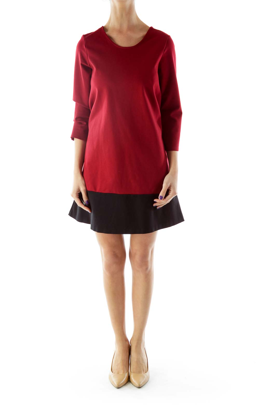 Red Black Bicolor Shift Dress