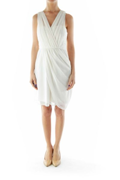 White Tulle Draped Dress with Spaghetti Strap