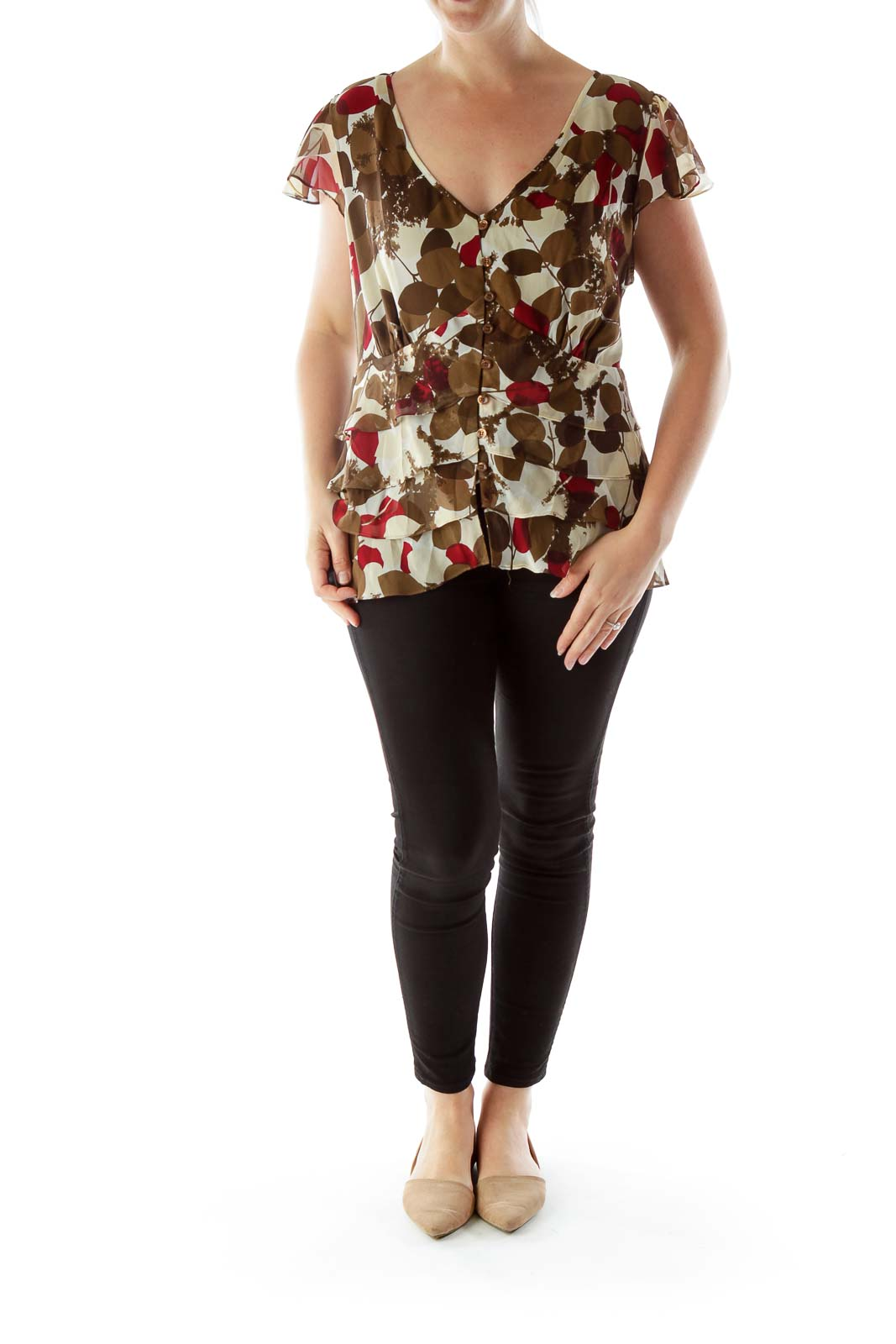 Multicolor Print Top with Ruffled Detailing