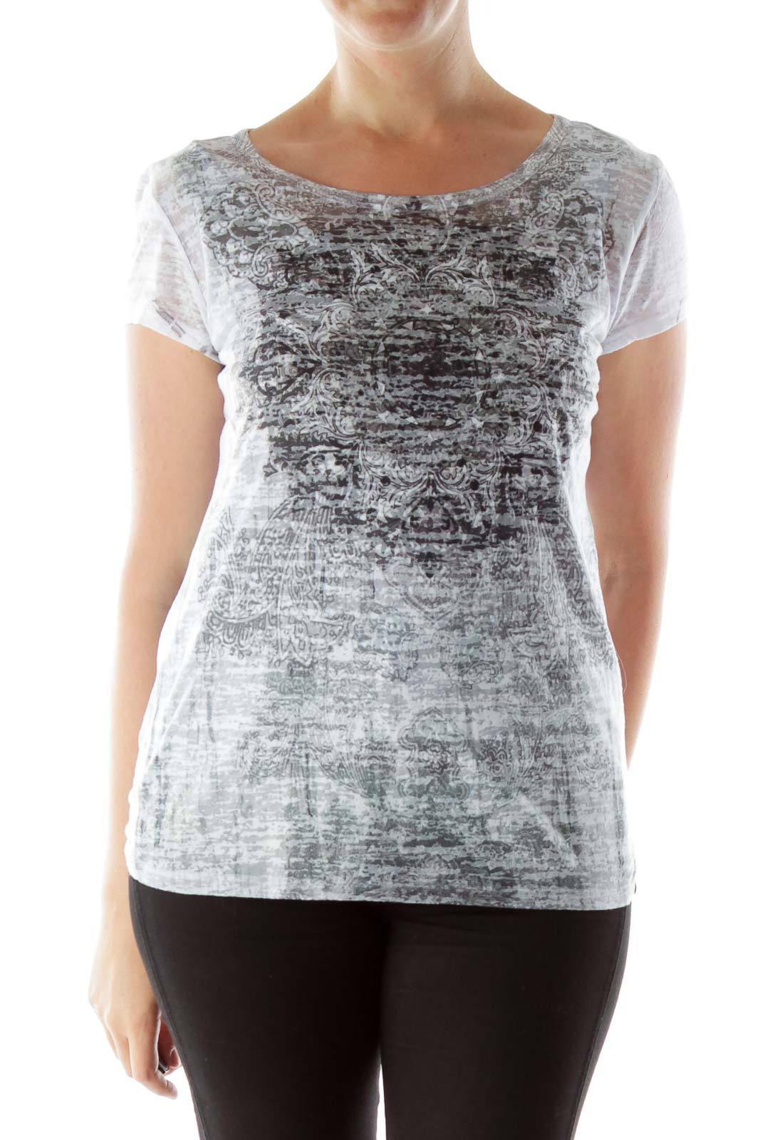 Gray & White Printed Burn Out T Shirt